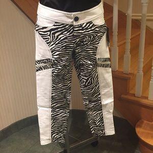 White with zebra print jean like capris
